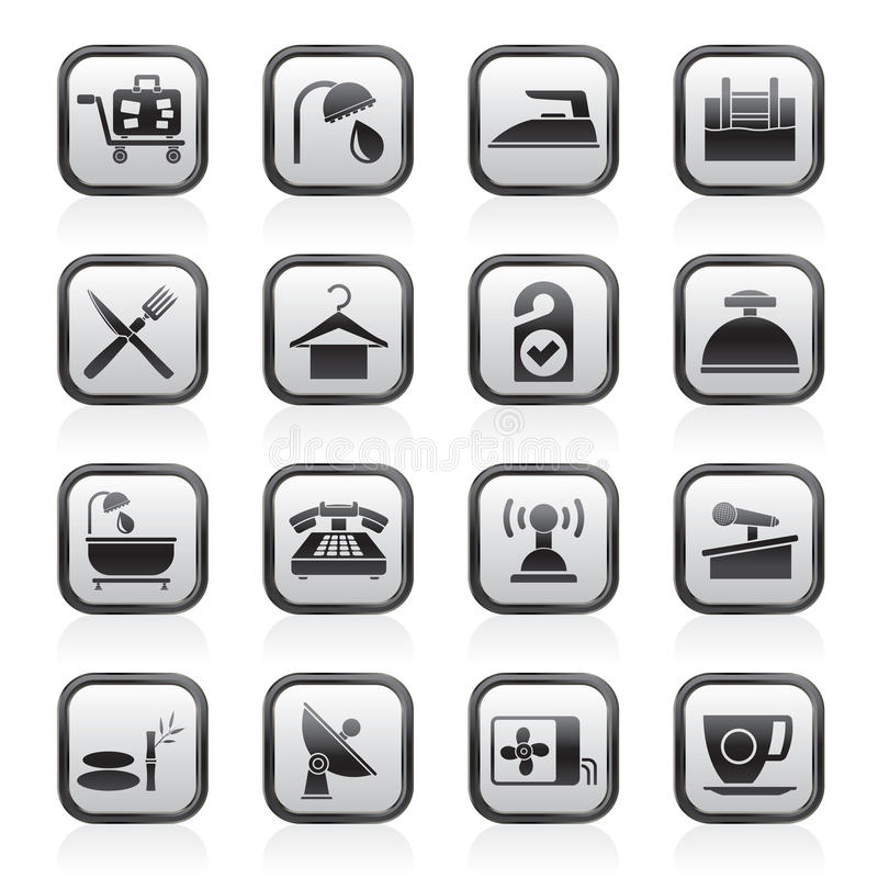 Hotel and motel icons vector illustration