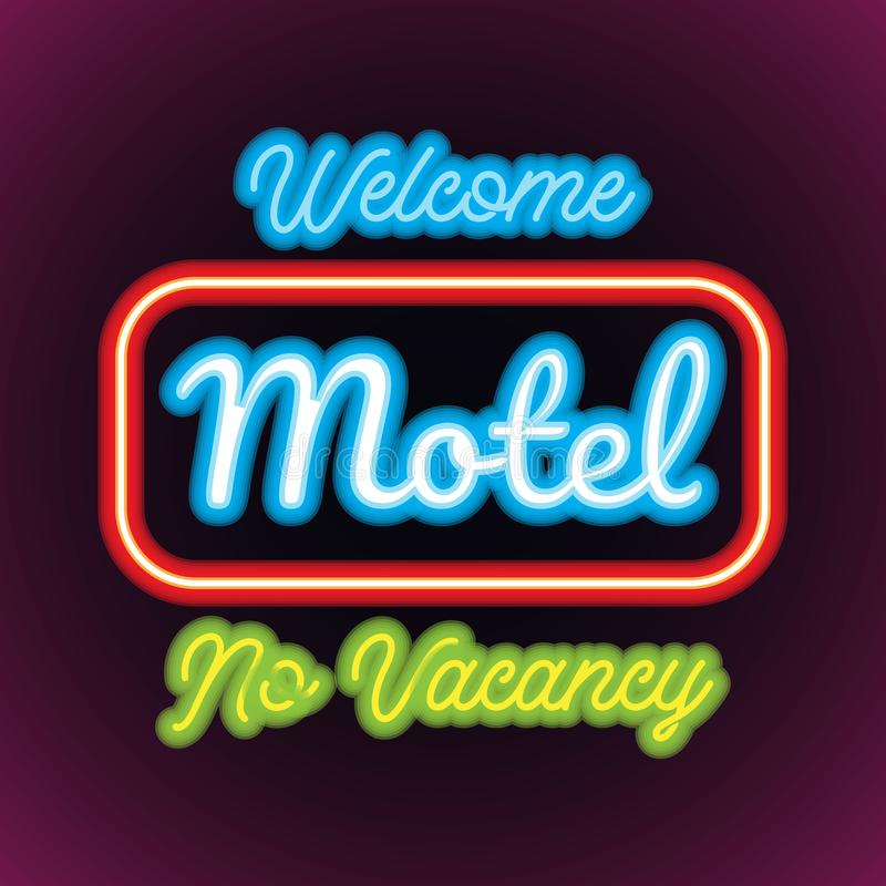 Hotel motel neon sign plank for hotel business. vector stock illustration