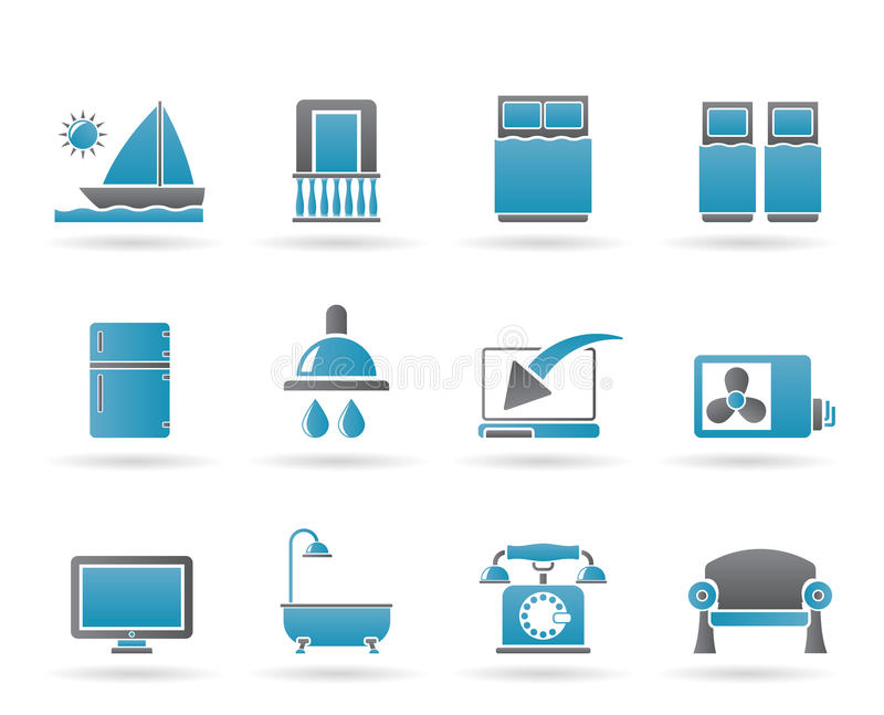 Download Hotel And Motel Room Facilities Icons Stock Vector - Image: 20093552