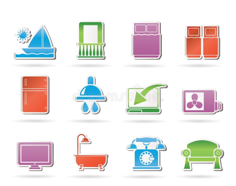 Hotel And Motel Room Facilities Icons Royalty Free Stock Images