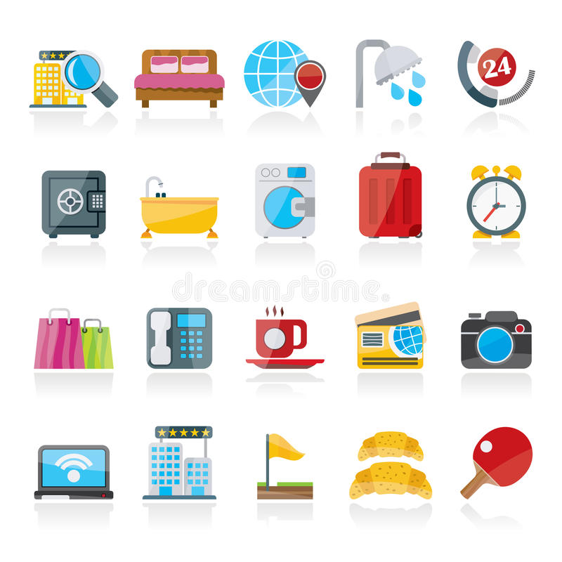 Hotel and motel services icons 1 vector illustration
