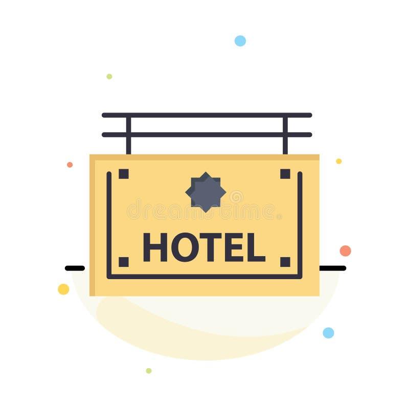 Hotel, muestra, tablero, plantilla plana del icono del color del extracto de la dirección stock de ilustración