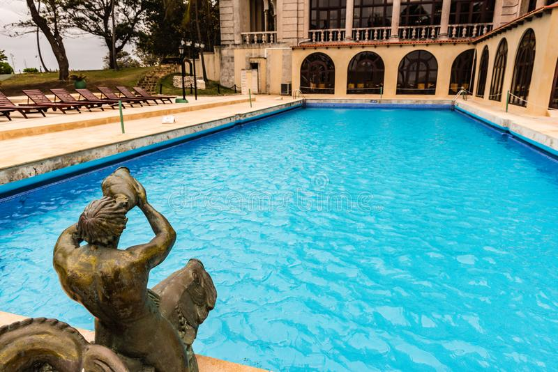 Hotel Nacional de Cuba / National Hotel of Cuba. Havana, Cuba / March 21, 2016: Outdoor pool at historic Hotel Nacional with art deco details dating from 1930 stock photography