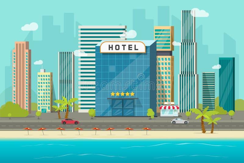 Hotel nahe See- oder Ozeanerholungsortansicht-Vektorillustration, flaches Karikaturhotelgebäude auf Strand, Straßenstraße und gro vektor abbildung