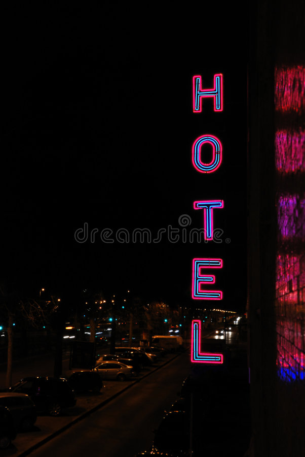 Download Hotel neon lettering stock photo. Image of house, chamber - 8995898