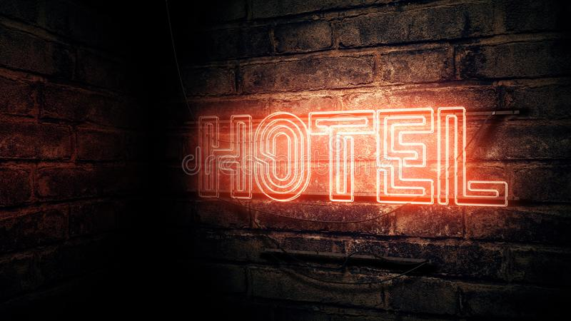Hotel neon sign royalty free illustration