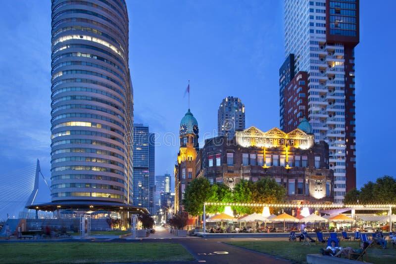 Hotel New York a Rotterdam a penombra fotografia stock libera da diritti