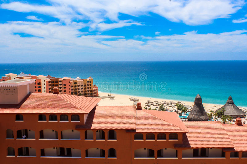 Hotel next to the sea. royalty free stock images