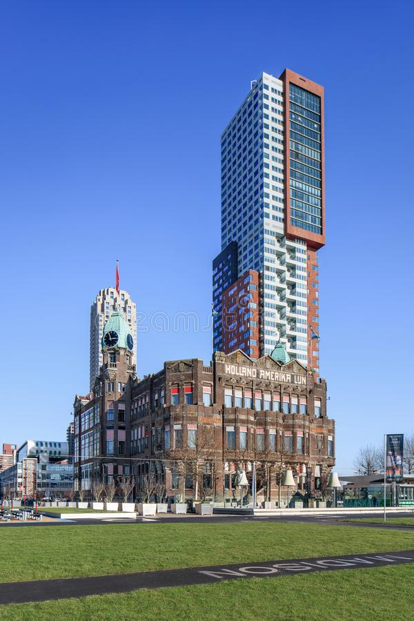 Download Hotel Ney York With Montevideo Tower At Kop Van Zuid, Rotterdam,  Netherlands Editorial
