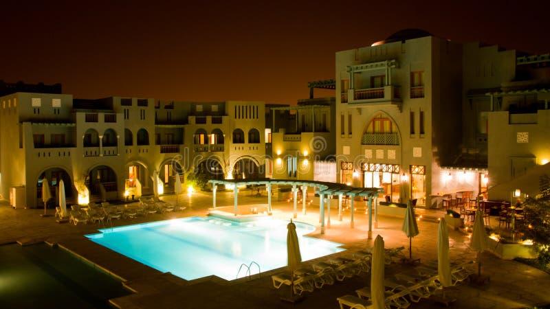 Hotel no gouna do EL na noite imagens de stock