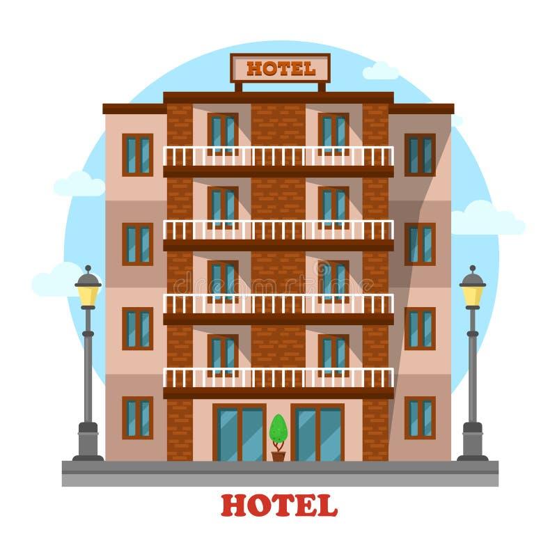 Hotel o motel, exterior constructivo del parador del rascacielos libre illustration