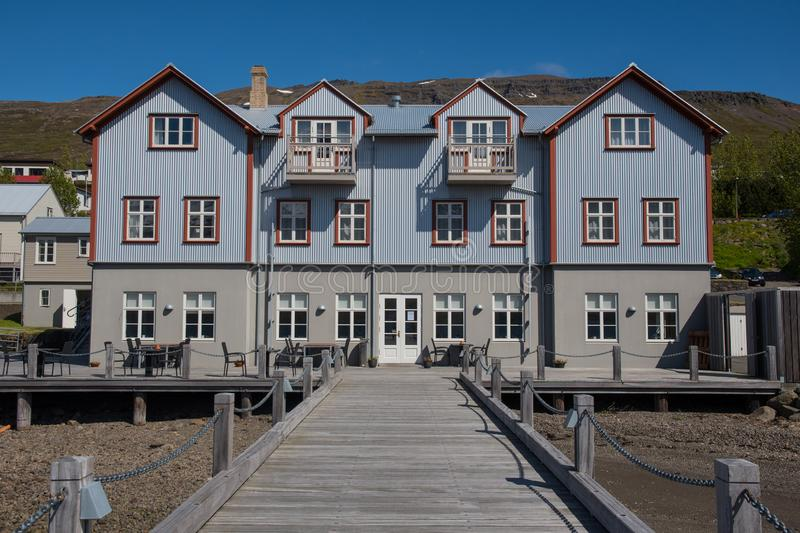 Hotel in the Old French hospital building in town of Faskrudsfjordur in east Iceland royalty free stock photos