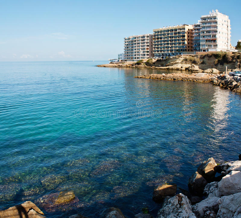 Hotel op het strand in Ibiza royalty-vrije stock fotografie