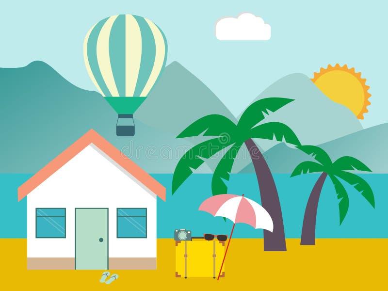 Hotel op het strand Toevlucht op het Overzees Tropische bergen landsc stock illustratie