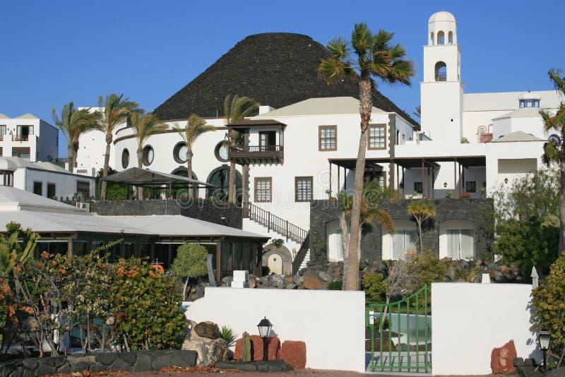 Hotel op Lanzarote, Canarische Eilanden, Spanje stock afbeelding