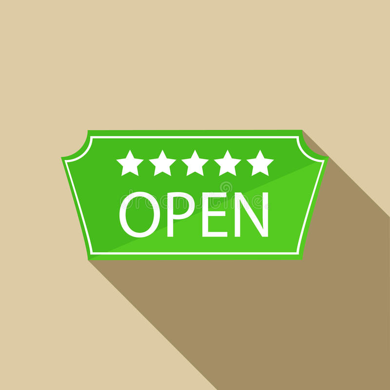 Hotel open sign icon in flat style. On a beige background vector illustration