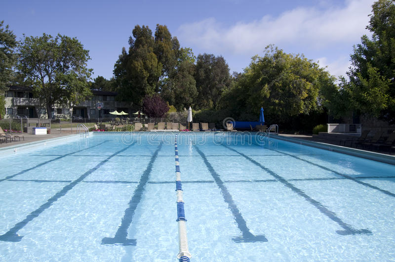Hotel outdoor swimming pool. Nice outdoor pool in California hotel stock image