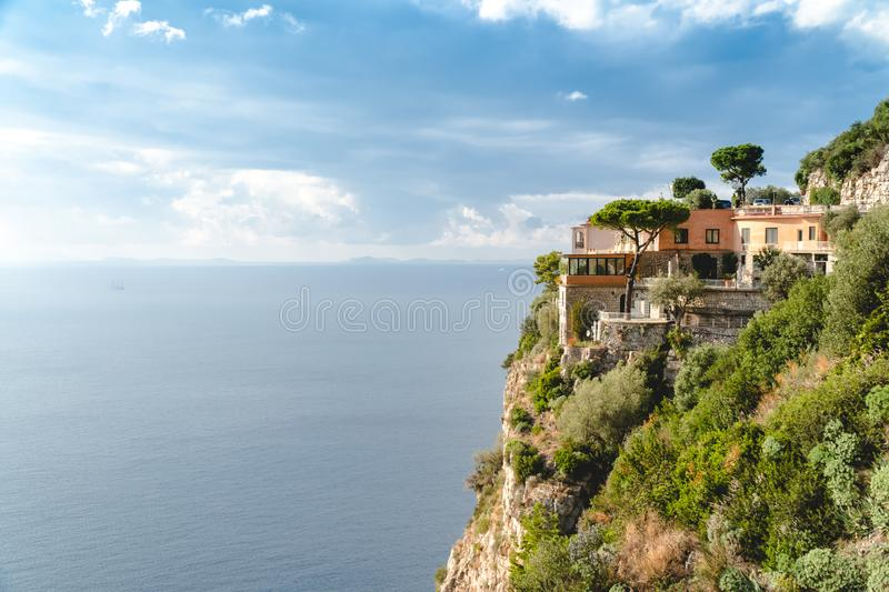 Hotel in Paradise, beautiful panoramic view on the rocky bay at sunny day, travel to Europe, vacation travel tour, mountains hotel royalty free stock photography