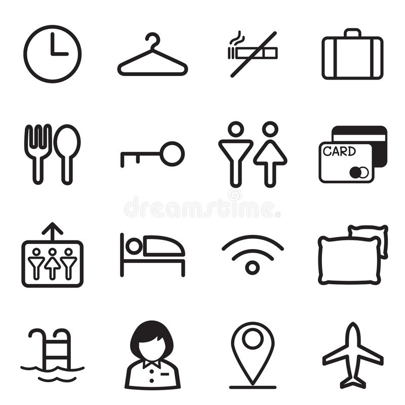 Hotel, parador, iconos del motel libre illustration