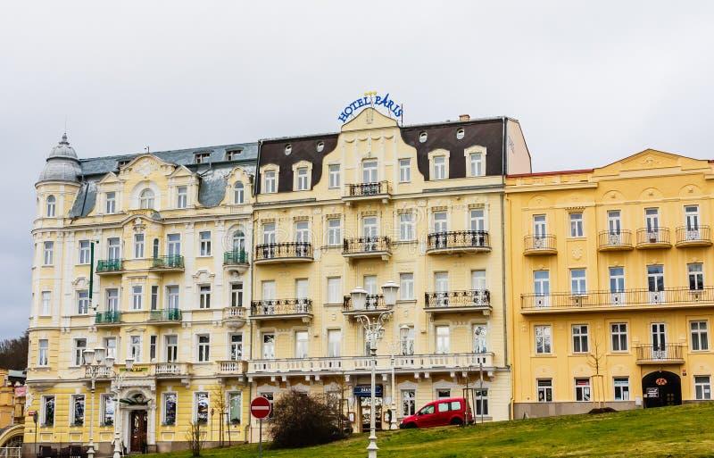 Hotel Paris. Spa center of small west Bohemian spa town Marianske Lazne (Marienbad) in winter with snow - Czech Republic. Hotel Paris. Spa center of small west stock photography
