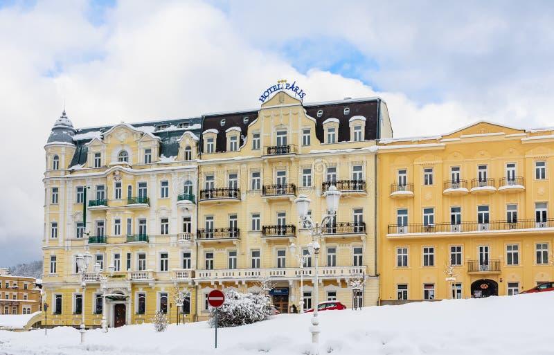 Hotel Paris. Spa center of small west Bohemian spa town. Marianske Lazne Marienbad in winter with snow - Czech Republic stock photo