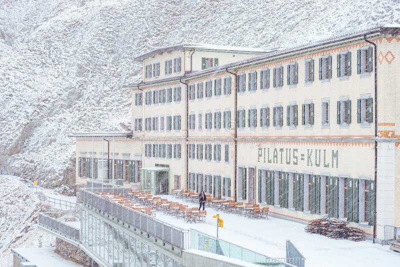 Hotel Pilatus-Kulm en un ventilado fotos de archivo