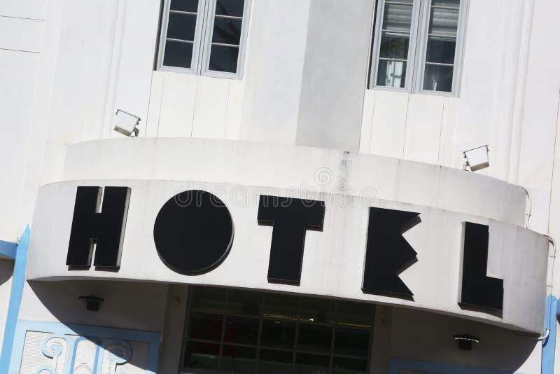 Hotel podpisuje wewnątrz art deco okręgu, Miami plaża obraz royalty free