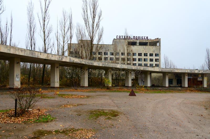 Hotel Polesye en el pueblo fantasma abandonado de Pripyat, zona de la enajenación del NPP de Chernóbil, Ucrania fotos de archivo libres de regalías