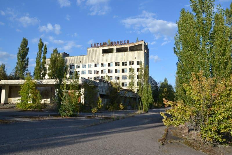Hotel Polissya, zona de Chornobyl imagem de stock