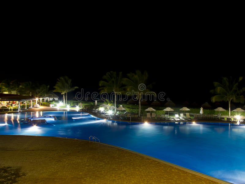 Hotel Pool At Night Stock Images