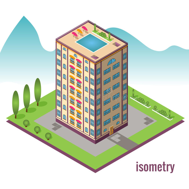 Hotel with pool on the roof against the mountain. Isometric vector illustration vector illustration
