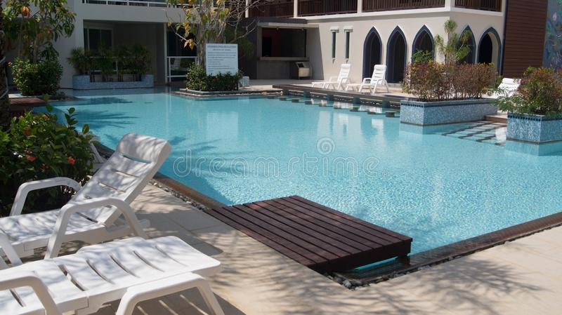 Hotel pool. In Thailand royalty free stock photo