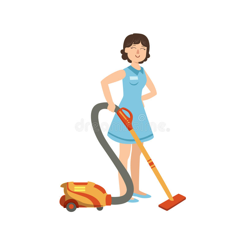 Hotel Professional Maid Cleaning The Floor With Hoover Illustration. Cleaning Lady Tiding Up With Special Inventory Simple Flat Vector Drawing stock illustration
