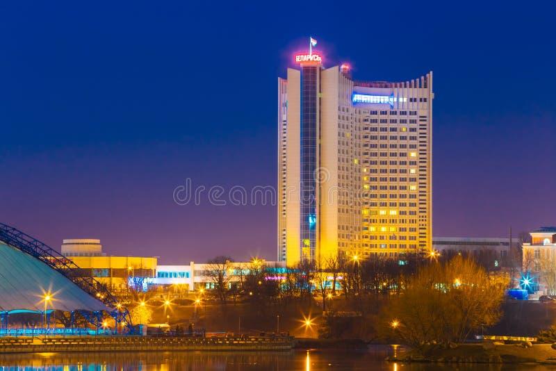 Hotel que constrói Bielorrússia na parte velha Minsk, do centro fotos de stock