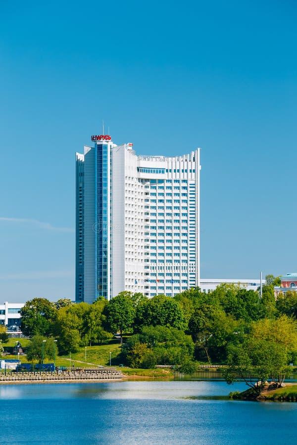 Hotel que constrói Bielorrússia no distrito Nemiga em Minsk imagens de stock royalty free