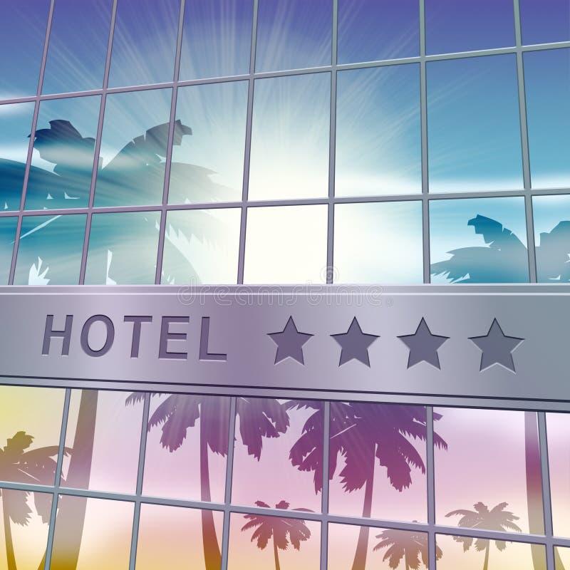 Hotel que se aloja mostrando el ejemplo de las vacaciones 3d del día de fiesta stock de ilustración