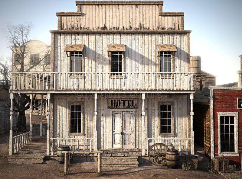 Hotel rústico de la ciudad occidental ilustración del vector