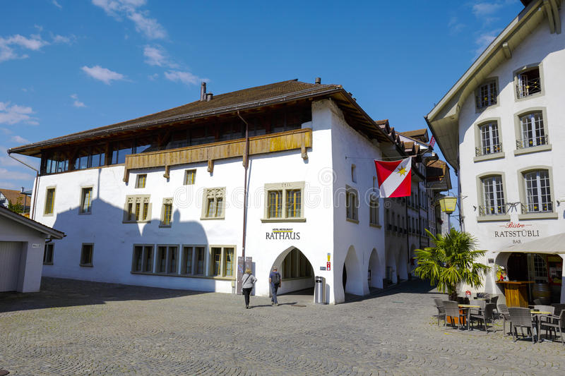 thun switzerland september 08 2015 hotel rathaus located in the oldest brick house velschenhaus in the city which dates back in history to the 14th