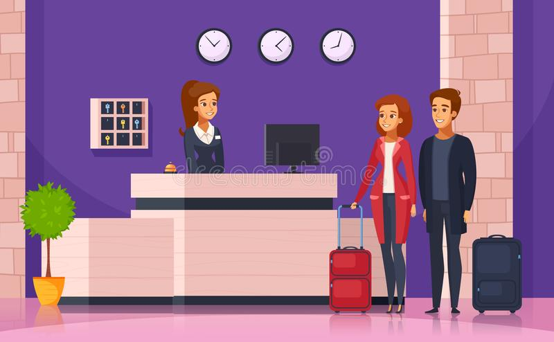 Hotel Reception Cartoon Background. With manager behind registration desk and tourists with suitcases vector illustration royalty free illustration