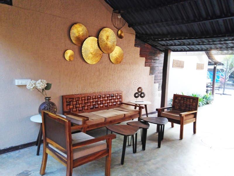 Hotel reception decor in Goa, India. `Stone wood resort and spa` hotel interior. Ashvem, Goa, Pernem road, India royalty free stock photos
