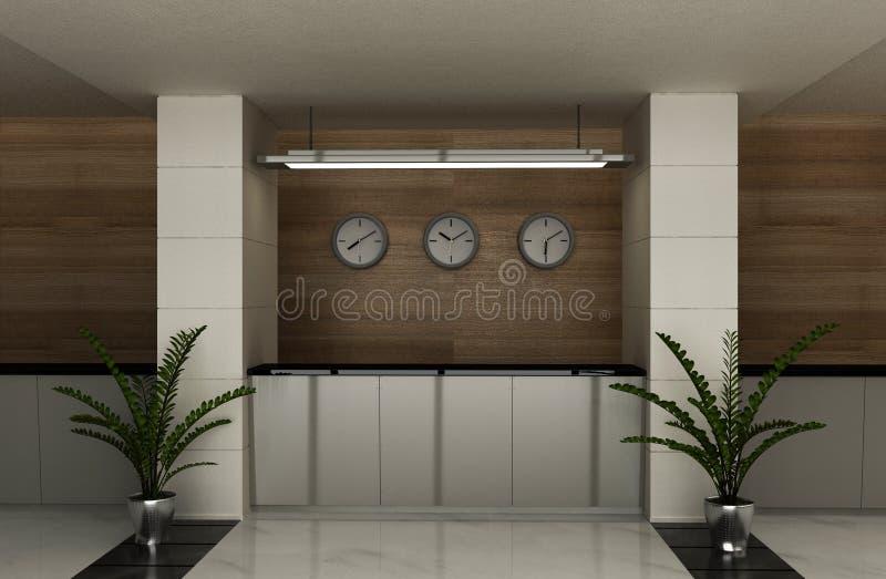 The hotel reception desk