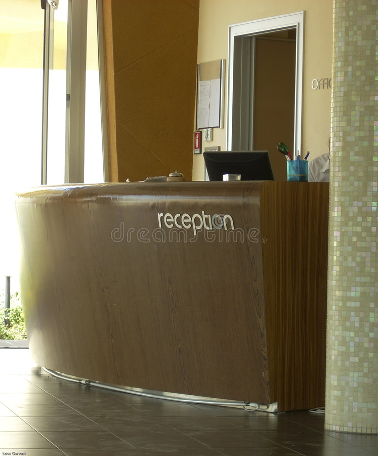 Hotel Reception Desk. In Agrigento, very lightly zone, meaningful royalty free stock image