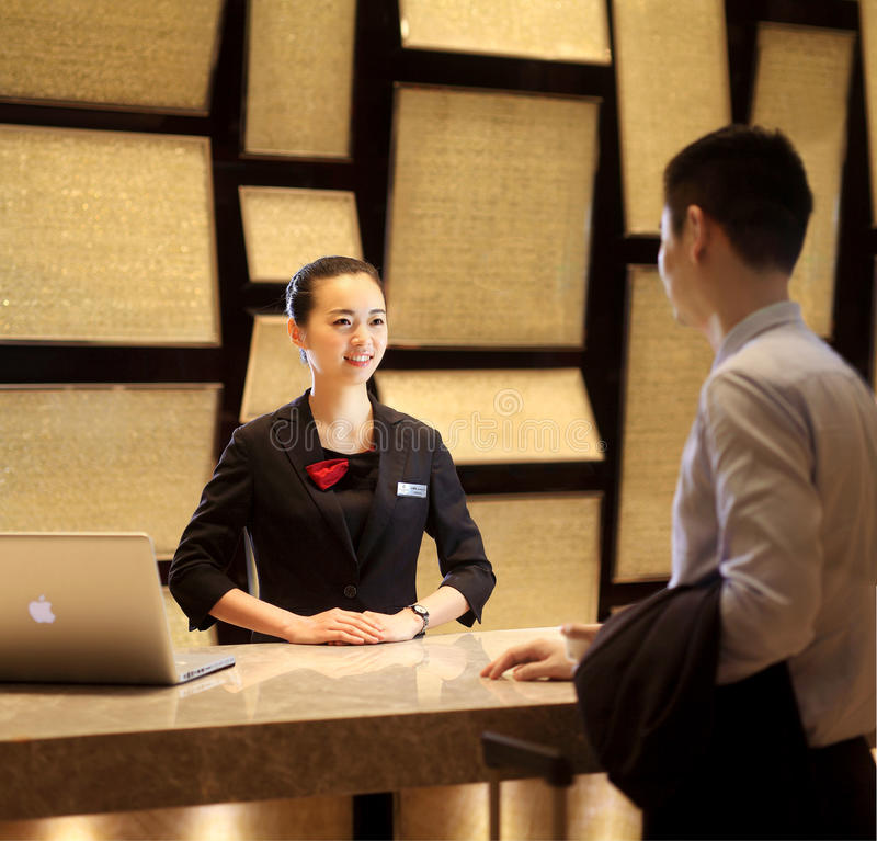 The hotel reception desk stock images