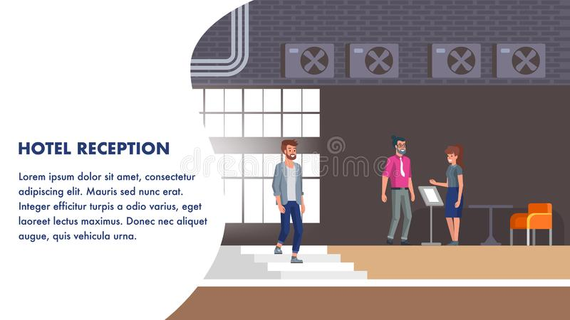 Hotel Reception Illustration. Client Booking Check. At Stand. Young Client Talking with Manager about Accomodation Registration. Woman Assistant Help Guest vector illustration