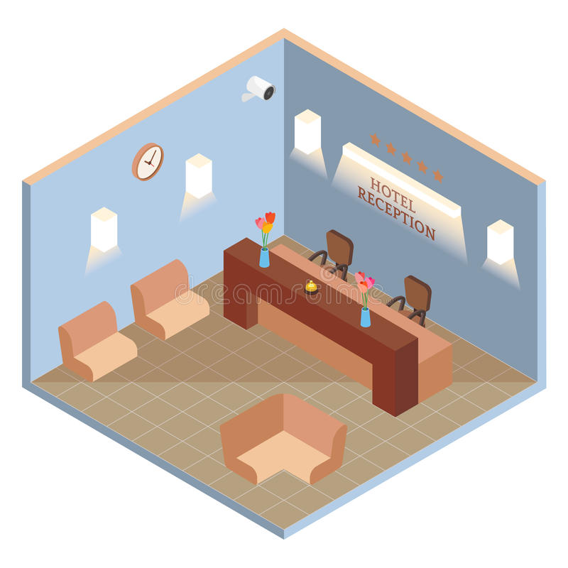 Hotel reception interior in vector isometric style. Illustration in flat 3d design. Hotel lobby room vector illustration