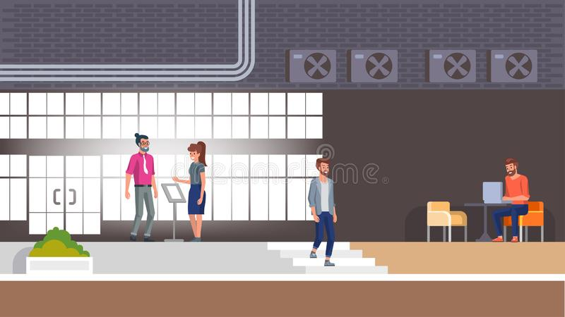 Hotel Reception and Lobby Interior with Character. Hotel Reception Interior Illustration with People. Comfort Lobby Area with Young Bearded Hipster in Armchair stock illustration