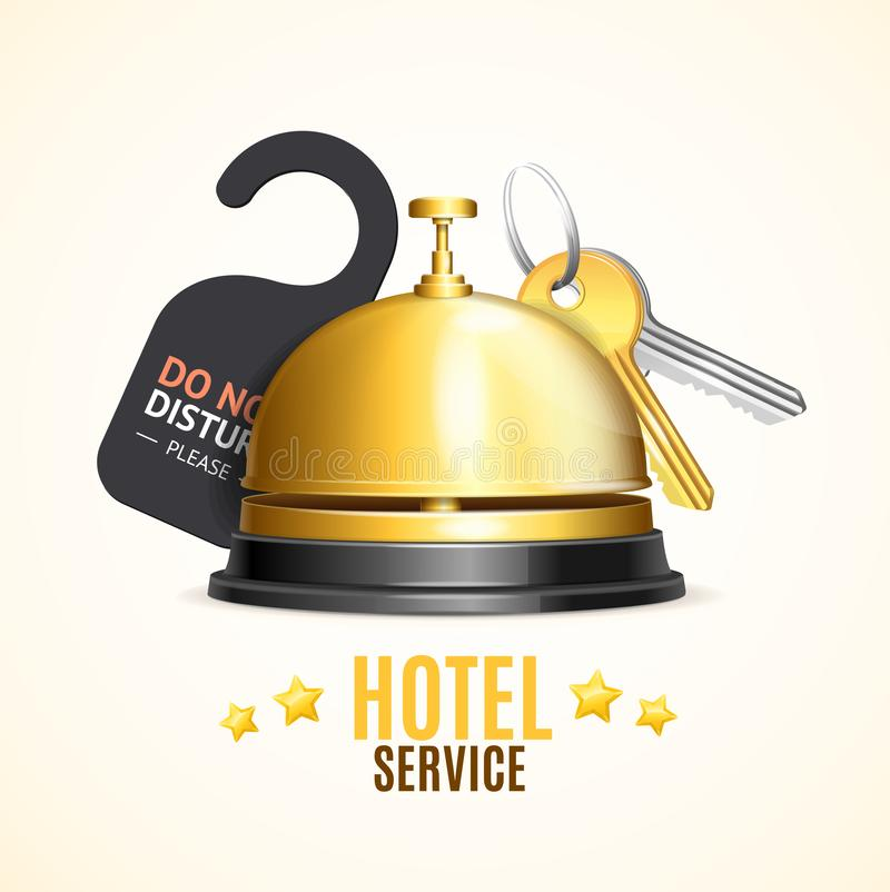 Hotel Reception Service Banner with Realistic Detailed 3d Reception Bell and Key. Vector vector illustration