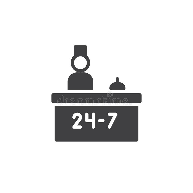 Hotel reception service and receptionist icon vector royalty free illustration