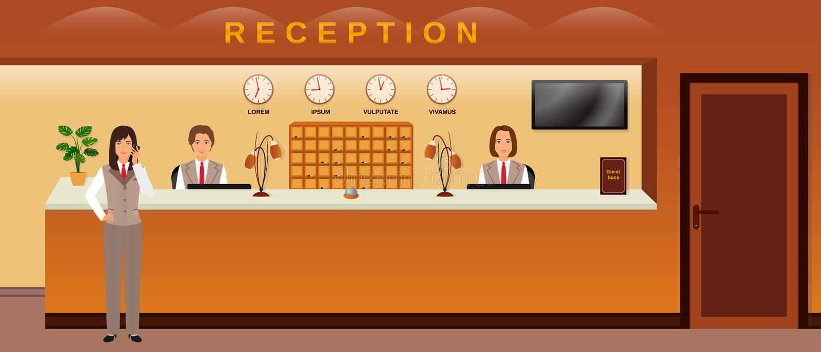 Hotel reception service. Three hotel employees welcome guests. Business office receptionists. Flat vector illustration vector illustration