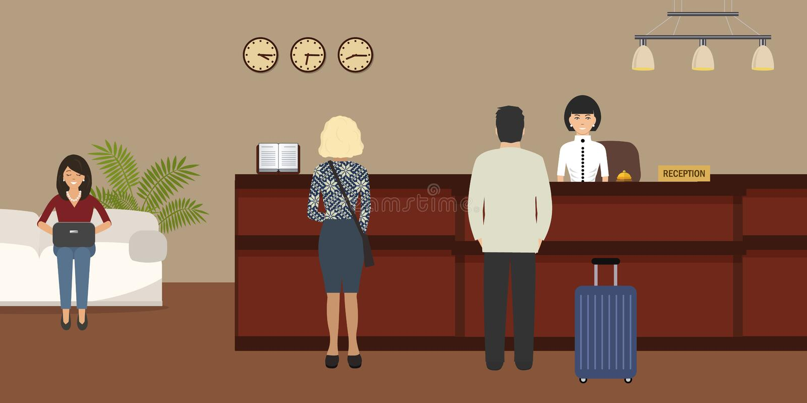 Hotel reception. Young woman receptionist stands at reception desk. There are also visitors here. Travel, hospitality, hotel booking concept. Vector image royalty free illustration